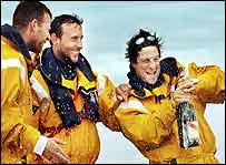 Andy Livers, Mick Crosswaite and Bear Grylls celebrate
