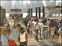 Commuters at the Jersey City ferry port. Commuter turnout was said to be lower than usual on Friday morning.