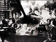 A Soviet tank daubed with a swastika in Prague