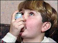 Child taking inhaler