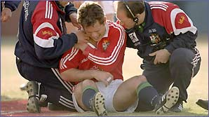 Kyran Bracken receives treatment on his shoulder during the Lions tour to Australia in 2001
