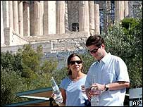 Tourists outside the Acropolis