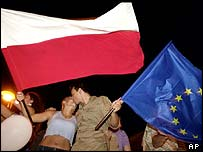 Poles celebrate the country's acceptance into the EU