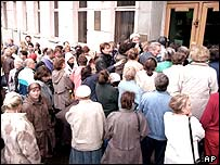 Queues outside a bank branch in Moscow