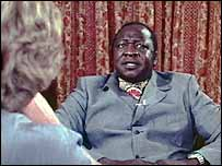 Idi Amin talking to Brian Barron