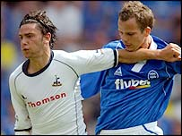 Tottenham's Helder Postiga (left) and Stephen Clemence of Birmingham
