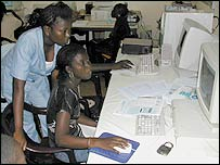 Women using computers in Senegal