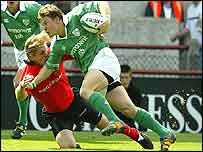 Ireland's Brian O'Driscoll was well policed by the Welsh defence