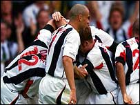 West Brom celebrate scoring against Burnley