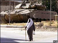 Israeli tank patrols the West Bank town of Jenin