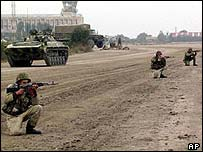 Troops at Grozny airport