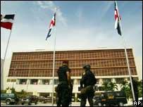 Guards outside the parliament building in Santo Domingo