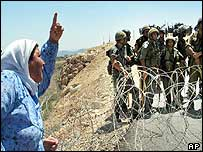 Palestinian woman protests in the West Bank