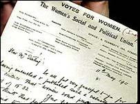 Emmeline Pankhurst's letter was discovered in 2002