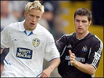 Alan Smith (left) scored Leeds United's second against Newcastle
