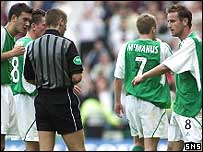 Hibs were incensed by the sending off of Grant Brebner