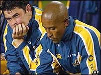 George Gregan sits dejected as New Zealand are presented with the Bledisloe Cup