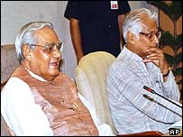 PM Vajpayee (left) and Defence Minister Fernandes