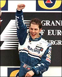 Villeneuve wins at the Nurburgring for his first F1 victory