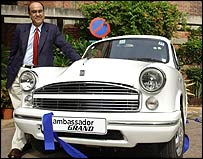 The new-look Ambassador, with Satish Burman of Hindustan Motors