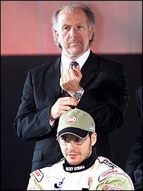 BAR team boss David Richards and Jacques Villeneuve