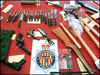 Weapons seized from Newcastle FC fans in 1996