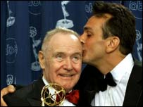Azaria celebrates with Jack Lemmon