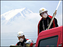 Fire officials prepare for an eruption of Mount Fuji