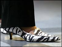 Theresa May in zebra-print shoes