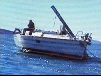 The Johnsons' boat after the whale attack