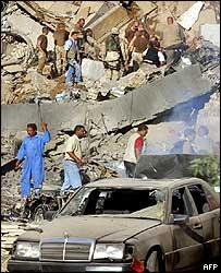 Rescuers at the UN building