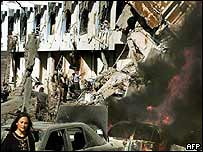 The wreckage of the UN building in Baghdad