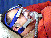 The C-PAP mask aids sleeping