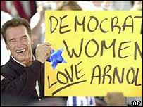 Arnold Schwarzenegger during a rally in San Jose