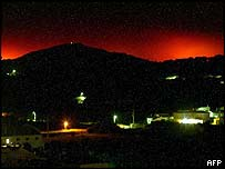 Glow from Portuguese fires
