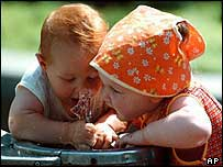 Children at a water fountain