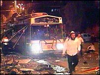 Scene of bus bombing in Jerusalem