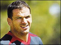 Martin Johnson pictured during training in Perth on Tuesday