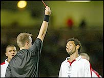 Jermaine Pennant, of Arsenal, is sent off during the England U-21s loss to Croatia at Upton Park