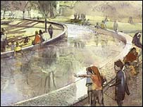 Artist's impression of the Diana fountain