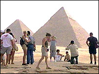 Tourists at pyramids