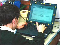 Teenager at a laptop