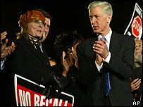 Diane Keaton at a rally with Gray Davis