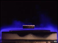 Magnet repelled over superconductor, SPL