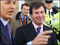 Iain Duncan Smith and Oliver Letwin at a police station visit
