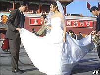 Chinese bride in Tiananmen Square