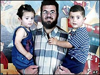 Palestinian suicide bomber Raed Mesk with his family shortly before his attack killed 20 people in Jerusalem