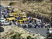 Israeli army soldiers close the Surda junction, the northern entrance of the West Bank town of Ramallah