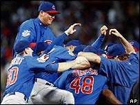 Cubs celebrate beating the Atlanta Braves