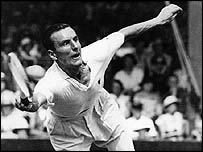 Fred Perry plays at Wimbledon in 1935